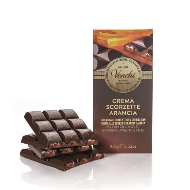 Venchi hořká čokoláda s náplní z kandované pomerančové kůry 100g