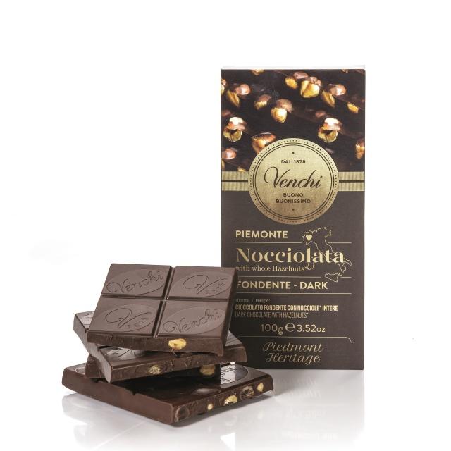 Venchi hořká čokoláda s náplní z kávy a drcených kakaových bobů 100g